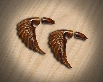 Fake Gauge, Tribal Earrings, Cheaters, Split, Organic, Eco-Friendly, Bird of Happiness, Wood Carving -W04