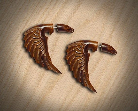 Fake Gauges - Bird of Happiness - Organic Wood Earrings - W4