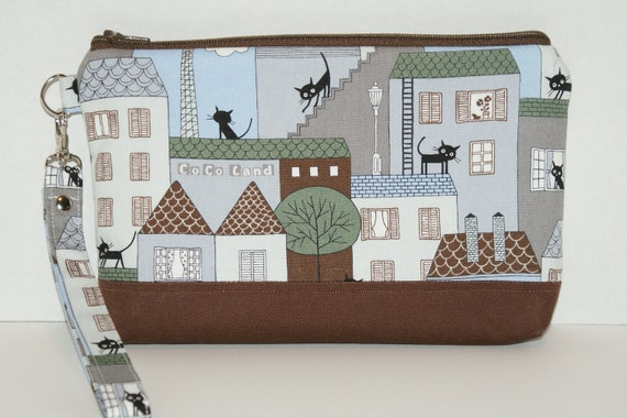 """Large Padded Wristlet Zipper Pouch/ Pencil Case/ Cosmetic Bag  Made with Fabric """"Coco Land City Cat"""""""