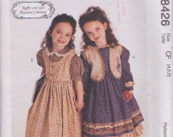 McCall's 8426 Children's Dress, Jumper and Vest Pattern, UNCUT, Size 4-5-6, Ruffles and Lace Treasured Collection