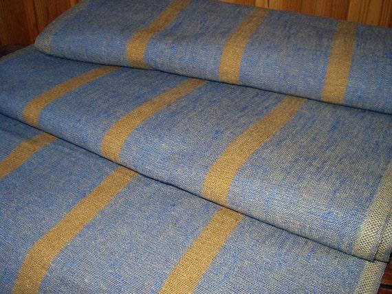 Decorator fabric 100% Pure Linen Canvas Ecru Gray Denim Brown stripe Heavy Weight  New ECO-friendly - last 1 piece 23 x 20 inch