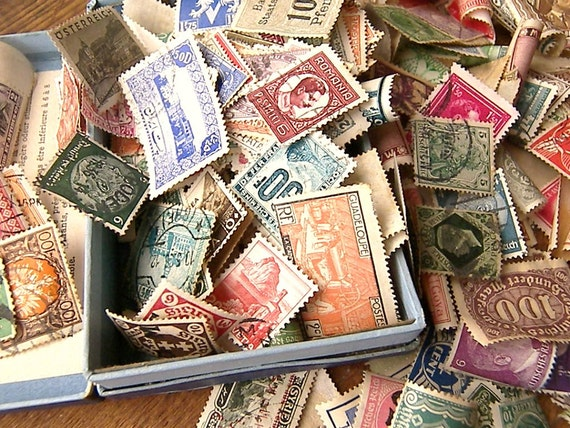 Vintage Postage Stamps from Around the World, Twenty Vintage Stamps for Scrapbooking, Re-purpose for Art Projects and Home Decor