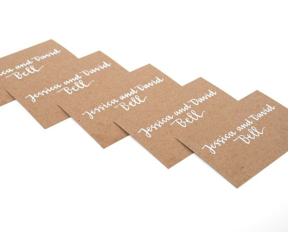 CUSTOM CALLING CARDS for Jessica . Handwritten Calligraphy . Modern Cursive . White Ink on Brown Kraft Cards . Set of 50