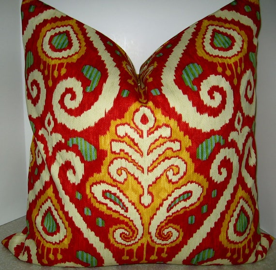 BOTH SIDES MATCHED 20 x 20 or 22 x 22 Richloom Zanzibar Tomato red pillow cover