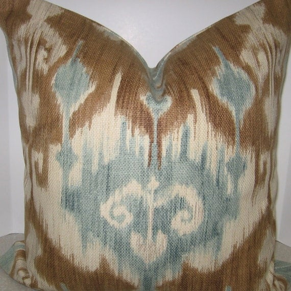 BOTH SIDES 20 x 20 Beautiful Ikat throw pillow cover brown and blue