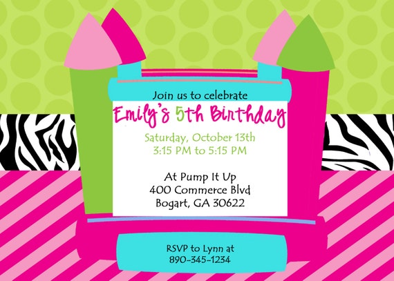Printable Bright and Sassy Bounce House Birthday Party Invitation.  Customized Printable Boncey House Invite.