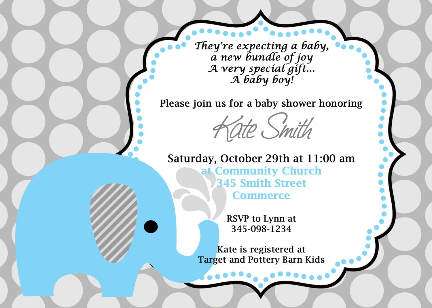 Printable Blue Elephant Baby Shower Invitation. Customized