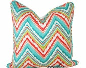 """MULTI-COLOR CHEVRON Pillow Cover - 24"""" x 24"""" In Multiple Tropical Colors, Self Welt"""