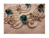 Crystal and Swirl Link Bracelet