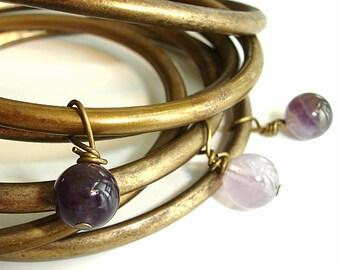 Bohemian Bangles: Stackable Bracelet Set, Gypsy Jewelry, Amethyst Bracelets, Indian Boho Brass Bangles, Gypsy Bracelet Set, India Jewellery