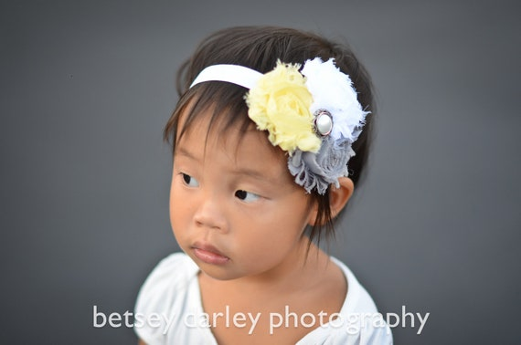 Yellow, Gray and White Vintage Rosette Baby Headband, newborn headband, toddler headband, child headband- Photo Prop