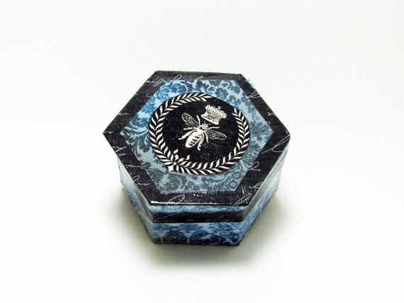 Queen Bee Blue Damask Decorative Box - Vintage Illustration - Lacquered - Decoupaged  Keepsake Trinket Hexagon Shaped Box with Drop Lid