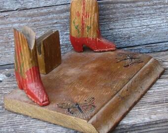 Vintage Primitive Wood Cowboy Desk Accessory