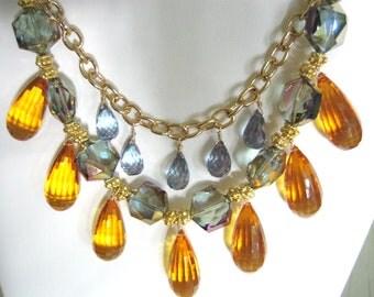 SALE  CITRINE Quartz , TANZANITE and Iridescent Crystal on Gold copper Chain
