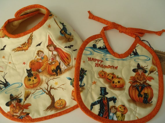 Old- Fashioned Halloween BABY BIBS Set of 2