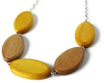 Mustard Yellow Necklace - Chunky Wood Necklace- Beaded Necklace - Wooden Bead Necklace - Brown Wood Necklace - Chunky Bead Necklace