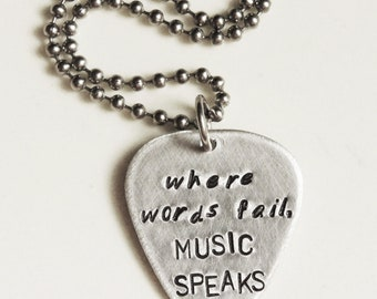 Custom Guitar Pick Necklace - official 2012 CMA Gift Bags - Silver Personalized Music Lovers Gift