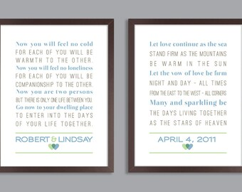 Custom Wedding Anniversary Gift, Personalized Wedding Print, Set of two prints (song lyrics, poem, vows )