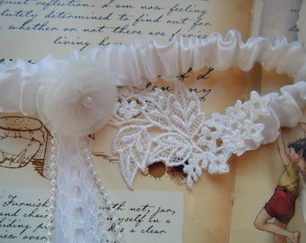 White Satin and Lace Applique Garter ready to ship