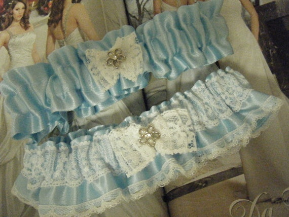 Blue Satin with White Lace Garter Set.