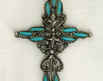 Vintage Silver-toned Turquoise Intricate Cross Pendant on a Linked Silver-toned Chain