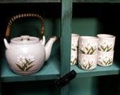 Otagiri Original Porcelain 6 Cups and Daisy Tea Pot Set