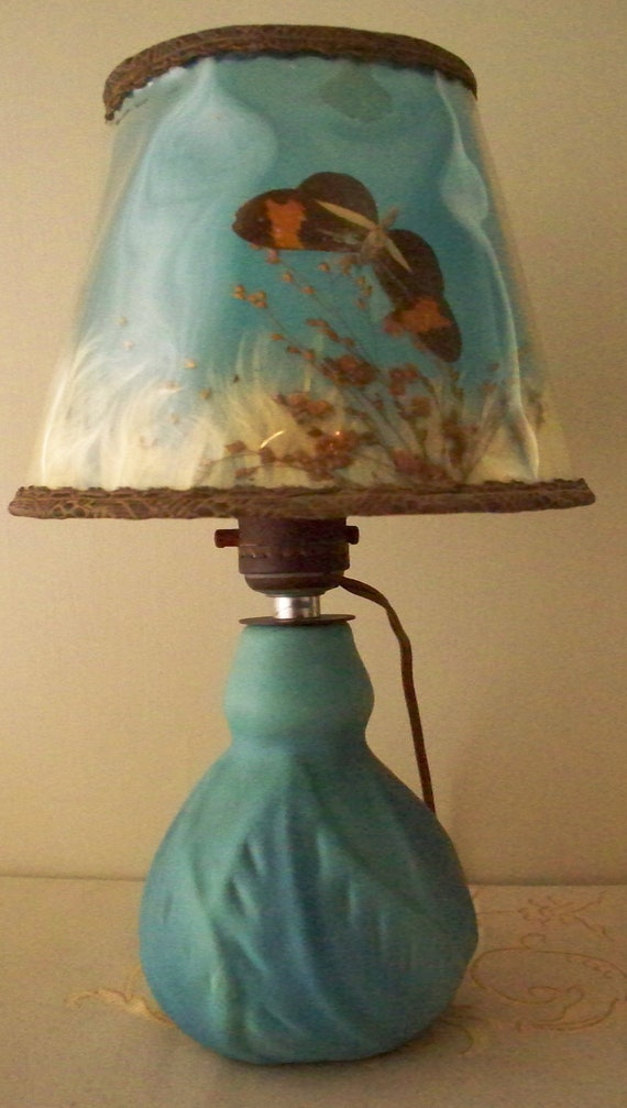 Van Briggle Pottery Lamp Butterfly Shade Ming By