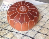 Tan Natural earth color now on our handmade  Leather Pouf