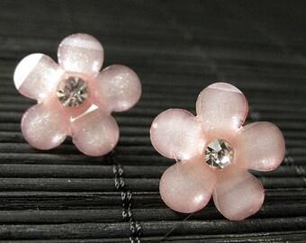 Peachy Pink Daisy Earrings. Rhinestone Earrings. Pink Flower Earrings. Silver Stud Earrings. Pink Earrings. Peach Earrings. Handmade Jewelry