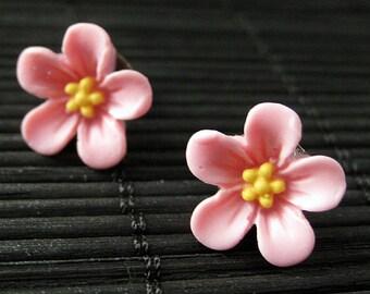 Pink Flower Earrings. Forget Me Not Flower Earrings with Bronze Stud Earrings. Flower Jewelry by StumblingOnSainthood. Handmade Jewelry.