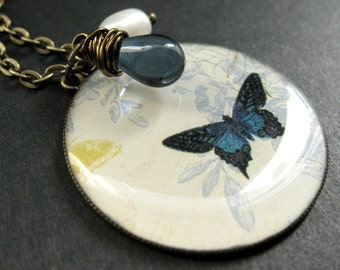 Butterfly Necklace. Dark Blue Butterfly Necklace with Midnight Blue Teardrop and Pearl. Handmade Jewelry.