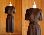 vintage 1940s black dress / martha manning / size large xl