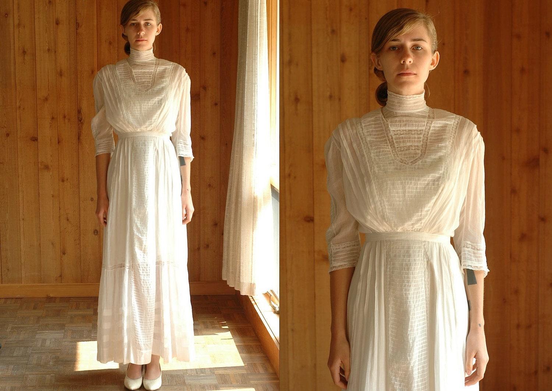 Antique 1910 Dress Edwardian Lawn Dress White Cotton