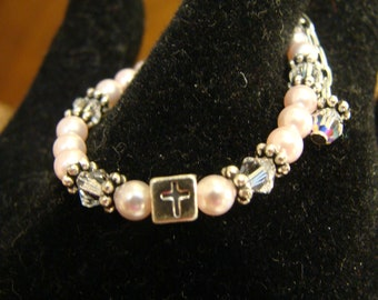 Baptism/Christening Bracelet made with Swarovski pearls and sterling silver