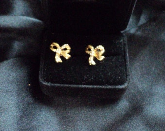 REDUCED-Gold Bow Earrings with Rhinestones  REDUCED