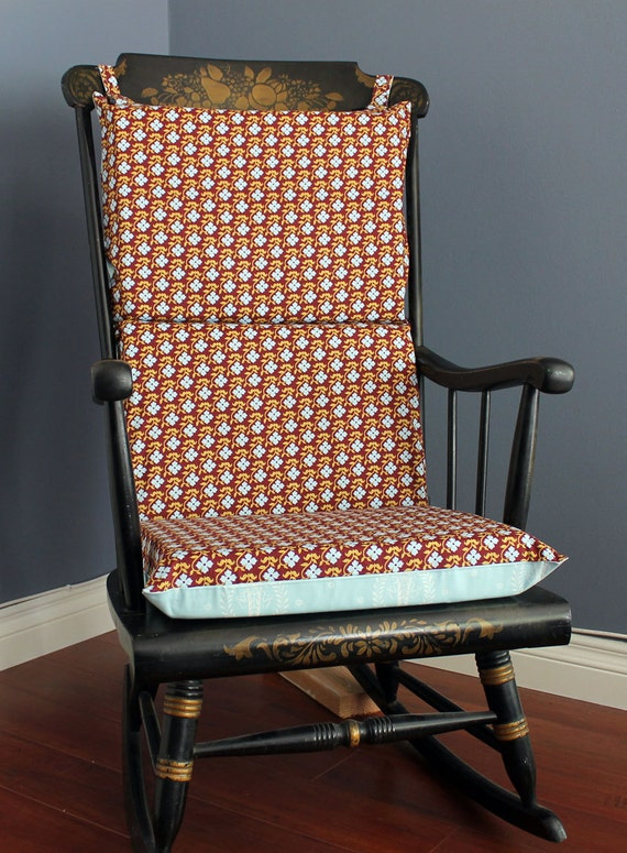 Rocking Chair Cushion Baby Blue Burgundy Floral