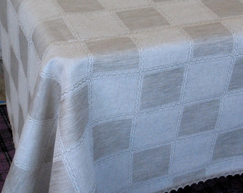 "Linen Tablecloth Natural White Gray Green Linen Lace  115"" x 59"""