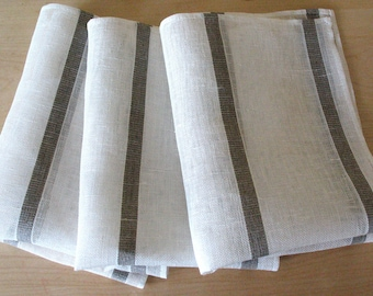 "Linen Napkin Natural White Gray set of 8 - Flax 17.3"" x12"" size"