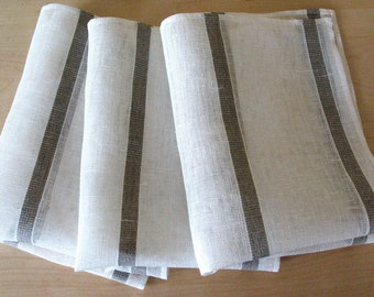"Linen Napkin Natural White Gray set of 6 - Flax 17.3"" x12"" size"
