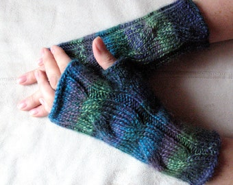 Fingerless Gloves Wrist Warmers Mittens Green Blue Salad Turquoise Purple Knit