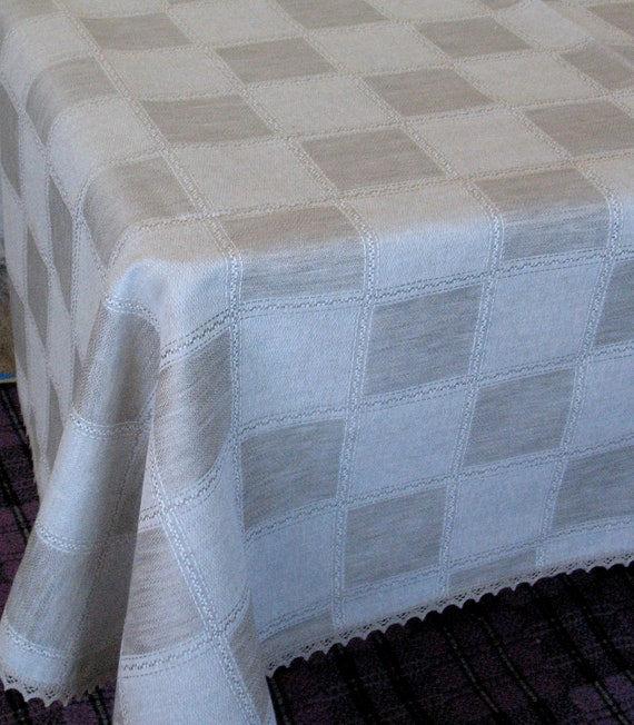 """Linen Tablecloth Natural White Gray Green Linen Lace  115"""" x 59"""""""