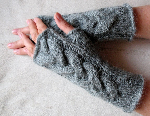 "Fingerless Gloves Arm Warmers Gray Dove 9"" Mittens Knit, Soft Acrylic Mohair"