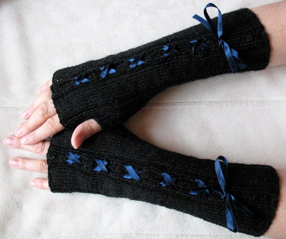 Fingerless Gloves Mittens Arm Warmers Black Blue and Soft Acrylic, Mohair