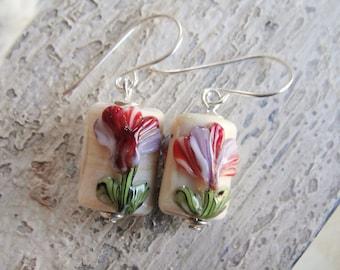 Earrings Art Glass Sterling Silver Flower Garden Cream Ivory Green Red