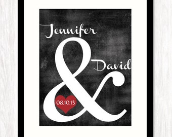 Personalized Wedding Gift, Ampersand Print, Custom Wedding Gift, Couples Name, Wedding or Anniversary Date, CHOOSE SIZE & COLORS