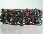 REDUCED - Crocheted - Twilight - Czech Beaded Boho Wrap Bracelet - Necklace - Lariat - Anklet Fall Colors