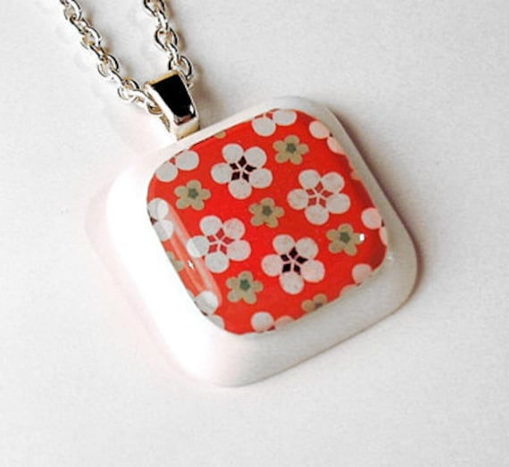 White and Green Flowers on Red Chiyogami Resin Pendant