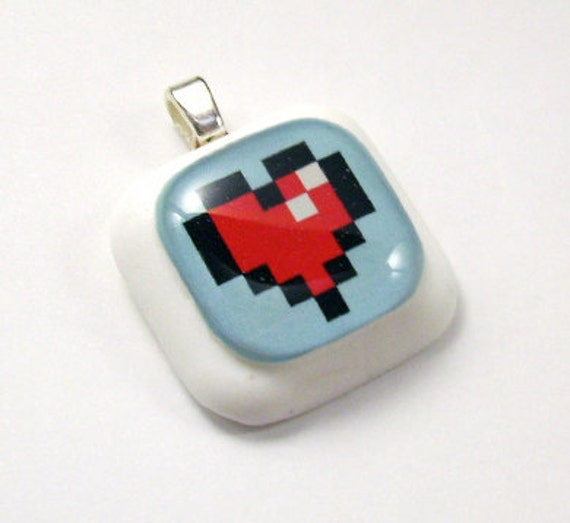 Pixel Health Heart Resin Pendant