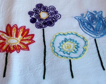 Bright Flowers Hand Embroidered Dish Towel