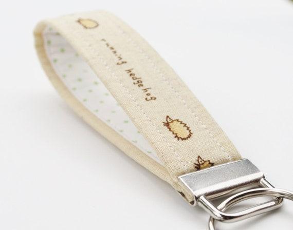 Hedgehog Key Chain , Linen Fabric Key Fob, Key Strap, Woodland